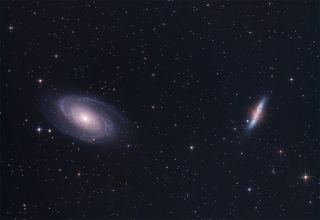 M81 M82 Reprocessed41x5m, ISO 800450d modifiedVixen GP + EQMODSW 150PDSOrion finder guidescope + SPC900 (unmodded)