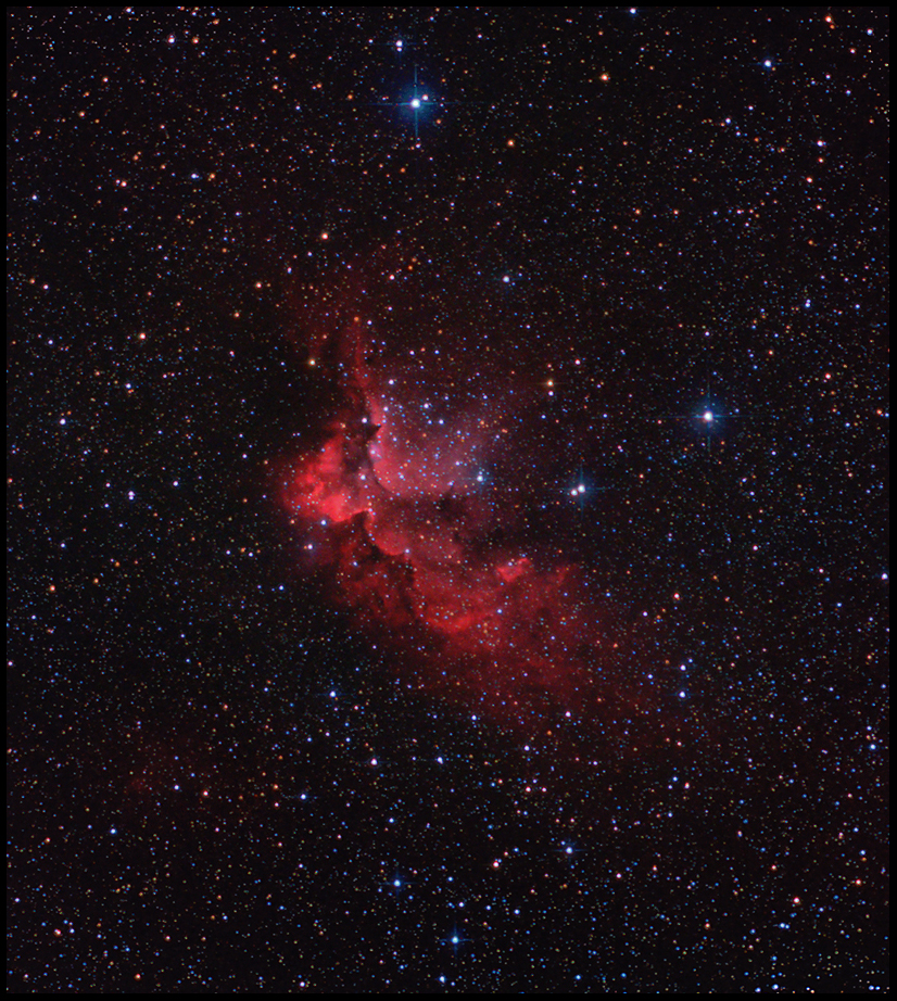 NGC 7380 - The Wizard Nebula- 55x2min unguided for the colour- 28x10min Ha guided- Canon 450D (modded)- Skywatcher 150PDS- Vixen GP- Guiding: Orion mini finder scope + SPC900 (unmodded)