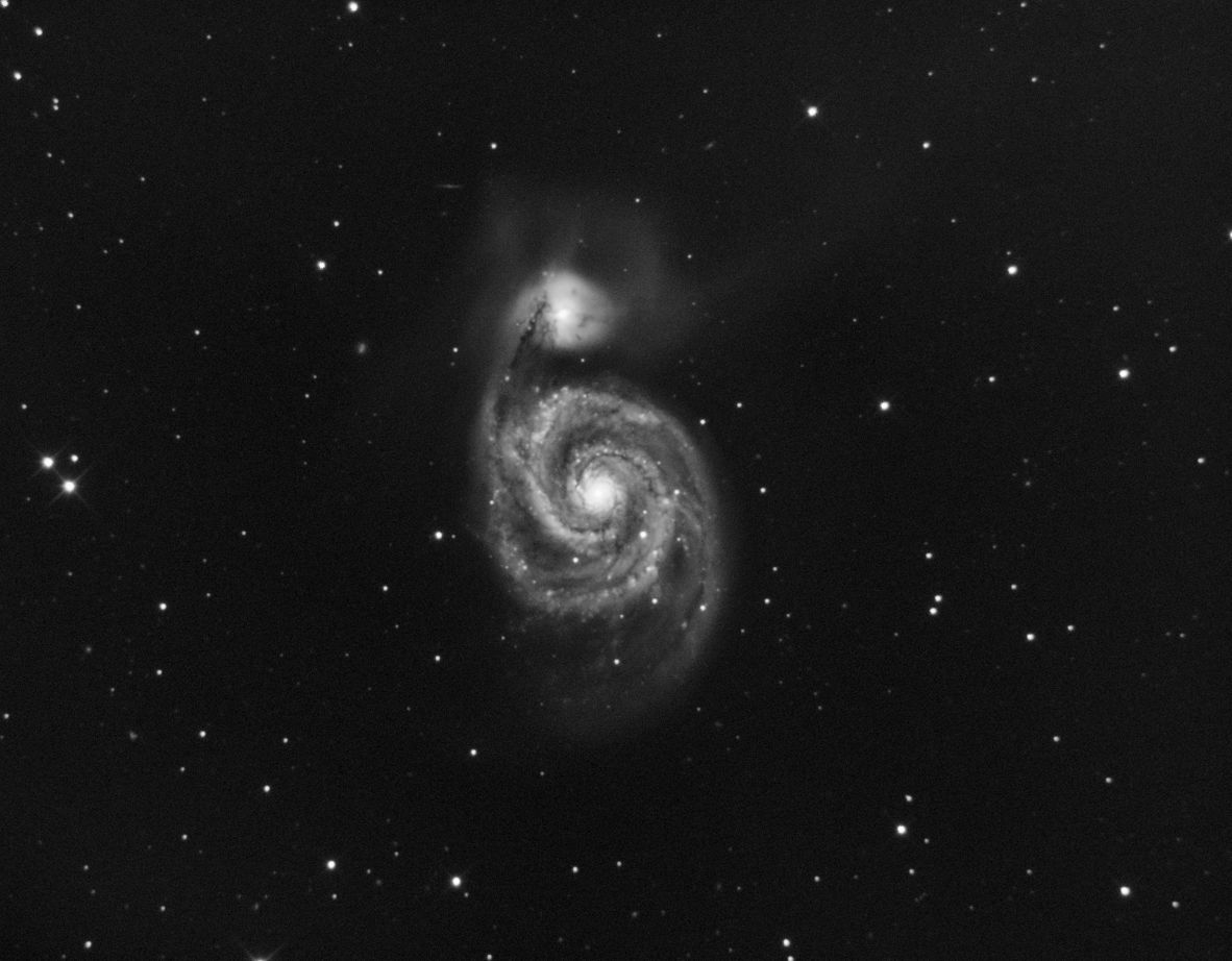 M51 - 13 x 10m Luminance.  First go at processing with my new full version of PixInsight.