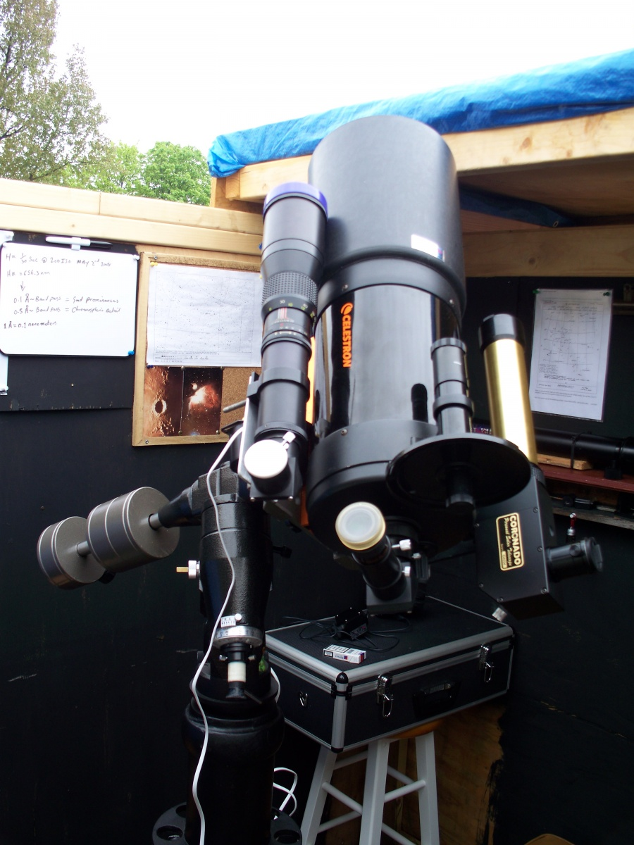 """My Celestron 6"""" Schmidt-Cassegrain Mounted on CG-5 (upgraded by my self) and H-alpha PST, 500mm f5.5 Telephoto lens up grade to finder/Guide scope"""