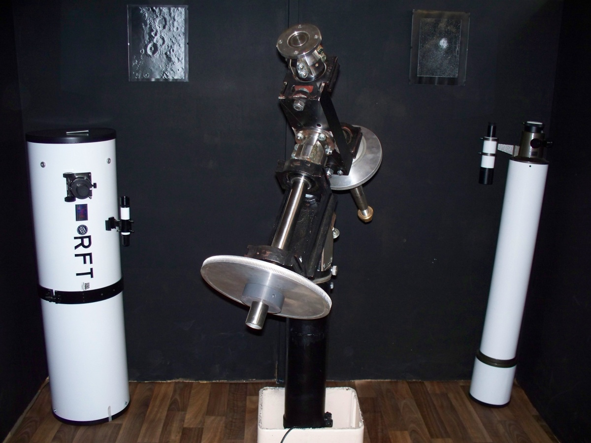 """Left of picture 12.5"""" f/5 RFT and to the Right of the picture the 6"""" (150mm) f/8 Guide Scope Refractor."""