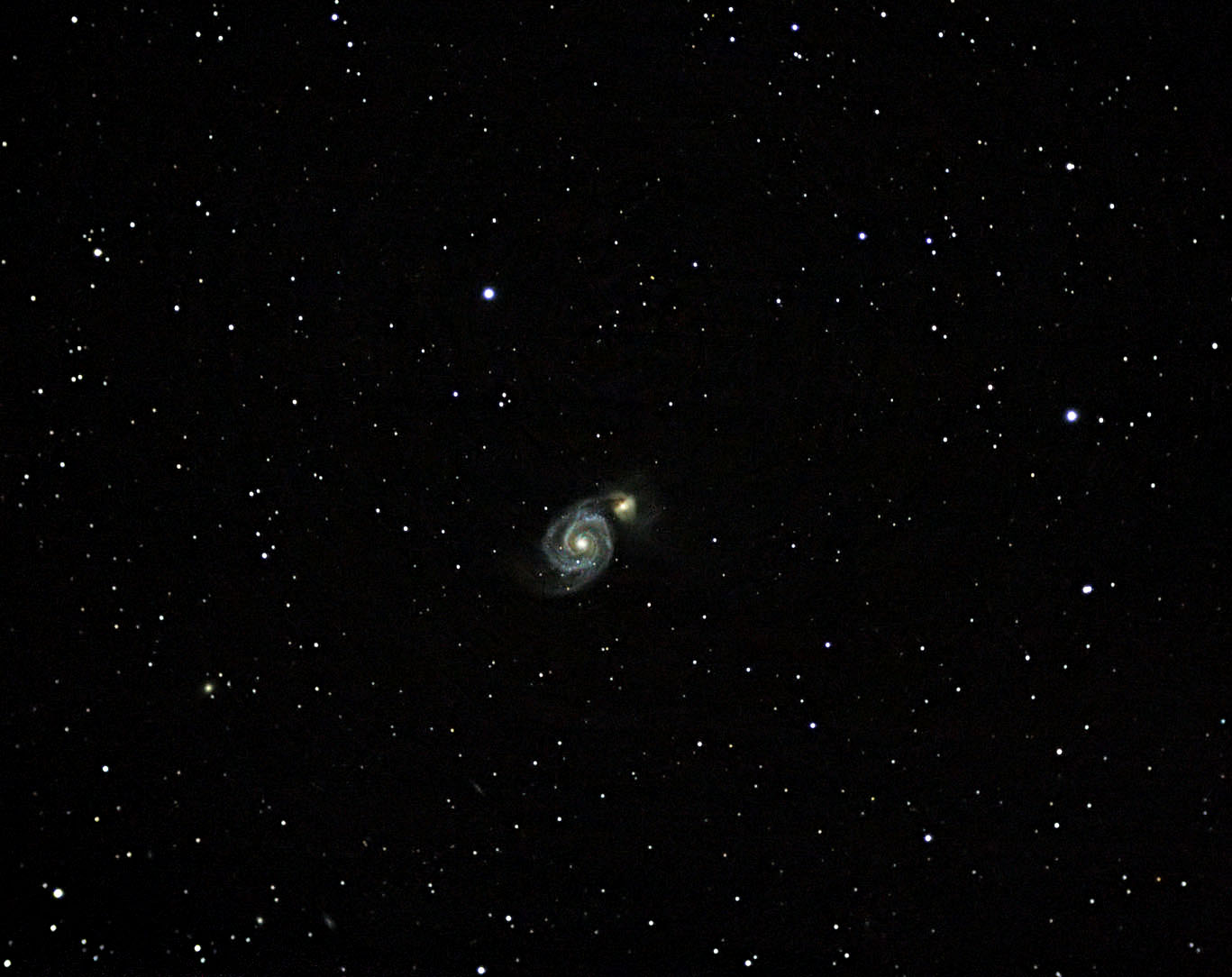 M51 Spiral Galaxy   19 Frames, 10m08s, Median combine DSS, Cropped, small PS5
