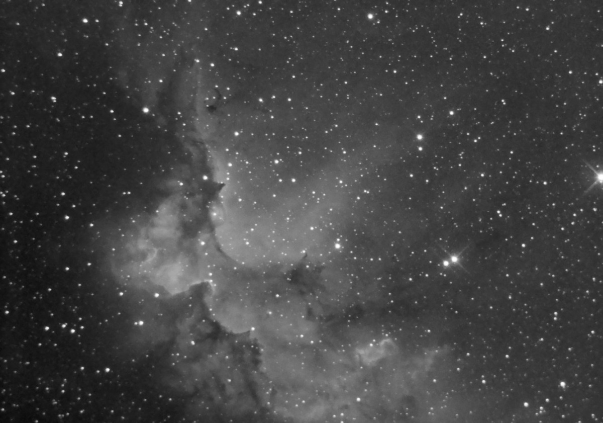 NGC7380 Ha Filter. Combination of 8x600s and 27x300s subs. Integrated exposures separately then used HDRComposition (PI) to combine the differing dynamic ranges.  It really brought out the detail of each exposure length much better than a simple integra