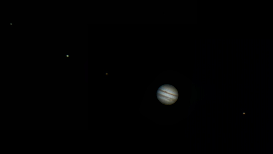 Jupiter and 4 moons, my first ever attempt at planetary imaging.From left to right: Callisto, Europa, Io, Jupiter, Ganymede.