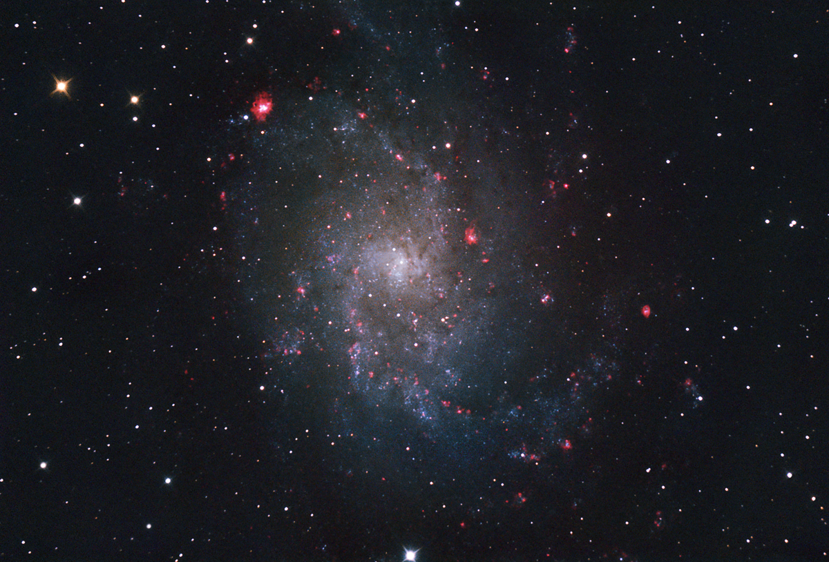 M33 with Ha added