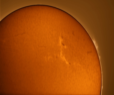 Sun 22 1 12 1400: My first successful Ha image of the sun. PST plus Mintron camera. Minimal processing, just happy to actually focus the scope.