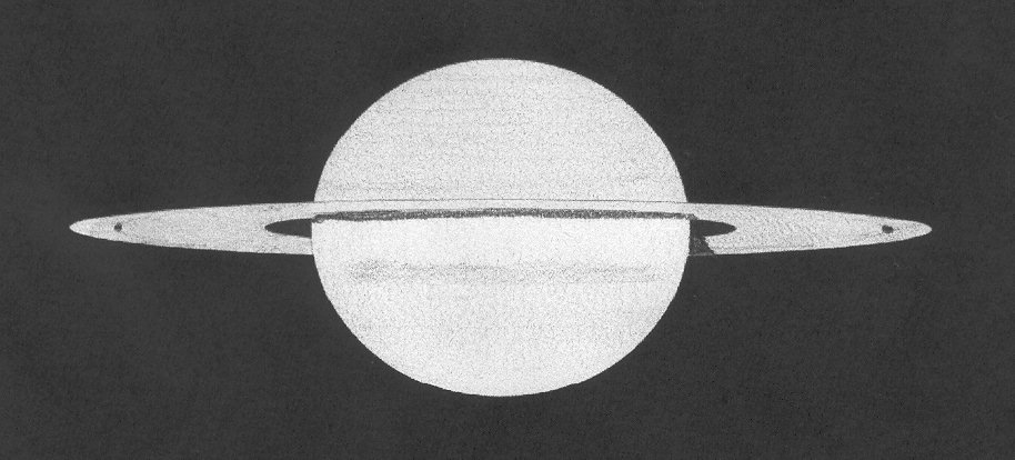 """Saturn 27 april 2009, drawn in the UK with a Takahashi 4"""" F/8 triplet."""