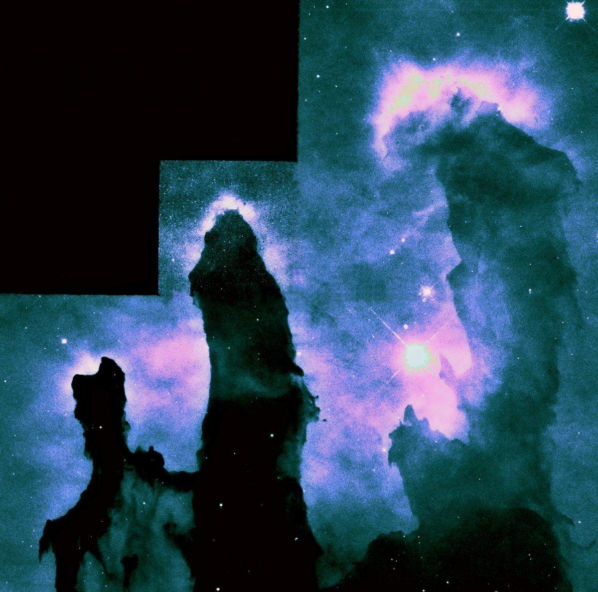 Pillars of Creation: Lots of fun had playing with the data from the HST. Have been going a bit stir crazy . My arthritis is playing up and preventing me lifting  my scope out onto its mount. Last night I would have liked to be out imaging Mars!