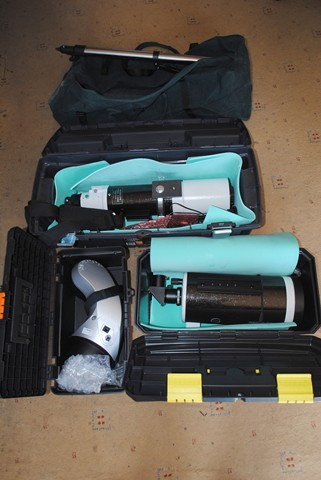 SW 127 and 102, etc Various tool boxes which the 'scopes & mount fit very well, protected with camping mat - doubles as dew shield...