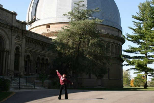 "Me posing outside Yerkes with 40"" Refractor Dome in the background"