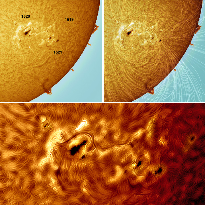 Sunspot regions 1519, 1520, 1521 and  magnetic field lines overlay, south west solar limb.