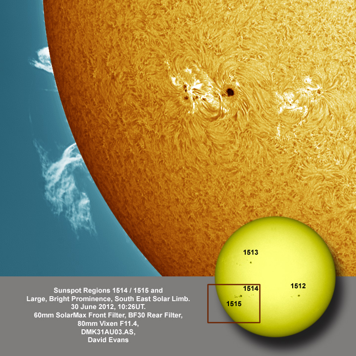 Sunspot Region 1514 / 1515 and Large, Bright Prominence, South East Solar Limb.