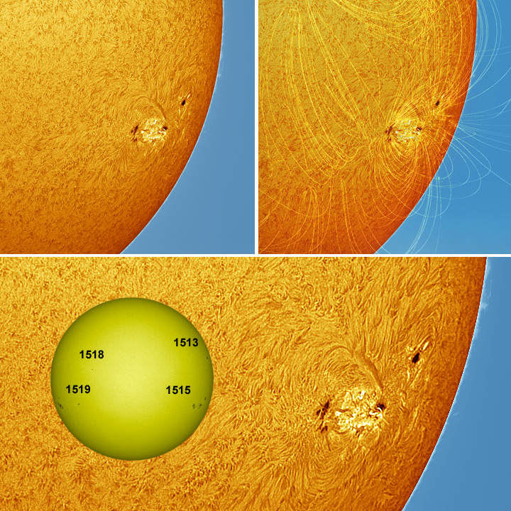 Active Sunspot Region 1515 and Magnetic Field Lines (PFSS).
