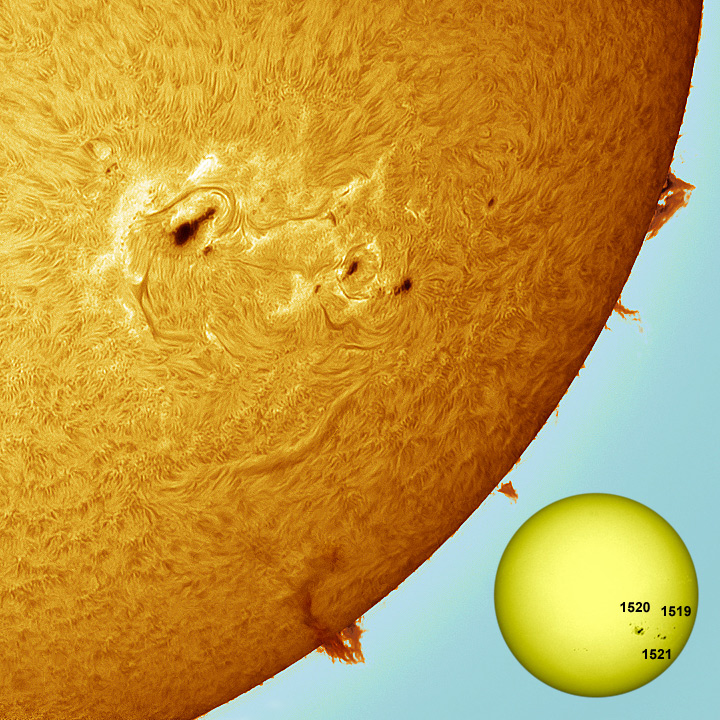 Sunspot Regions 1519, 1520, 1521 and Filiprom, South West Solar Limb.