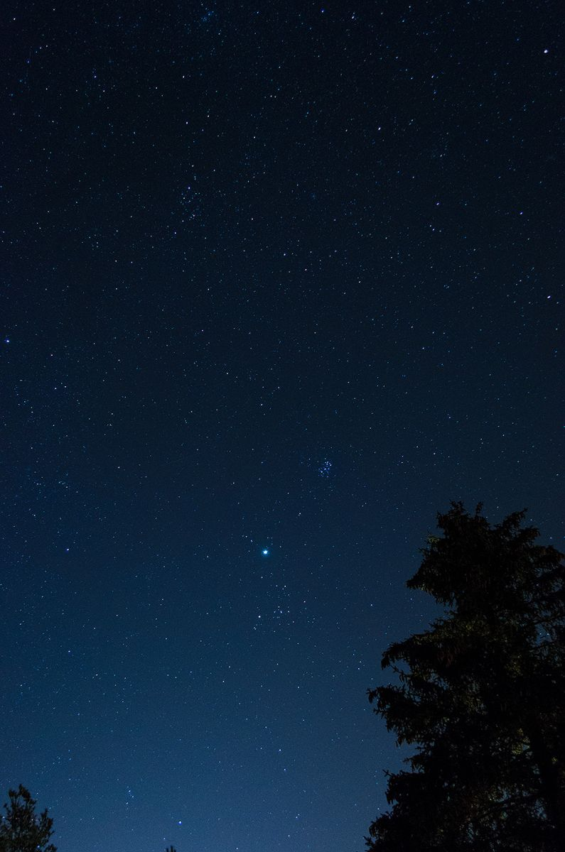 Jupiter, Pleiades And The Double Cluster