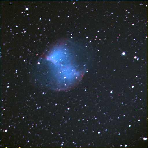 The Dumbbell Nebula, Messier 27. October 15, 2003 Telescopes In Education 24 inch Cole Telescope, Mount Wilson Observatory 24 sec exposure (max), LRGB combined images