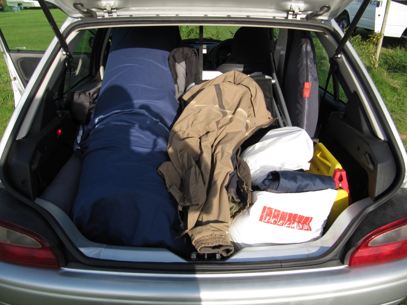back of my car on arrival