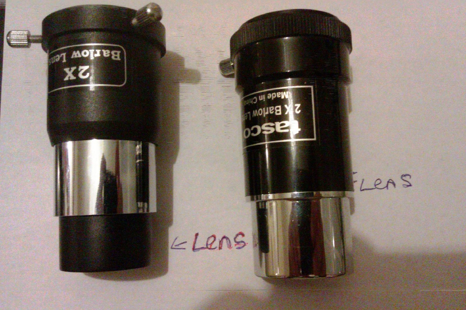 Two differing barlows with lenses in different positions 1