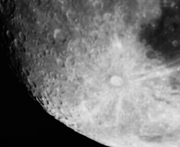 tyco crater, the moon.