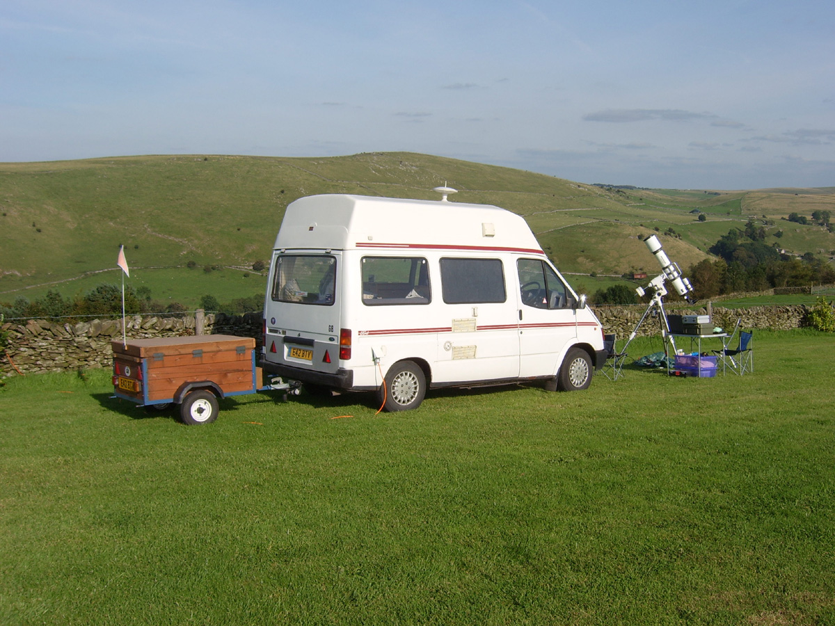 Mobile observatory at our chief dark site, Longnor in Debyshire