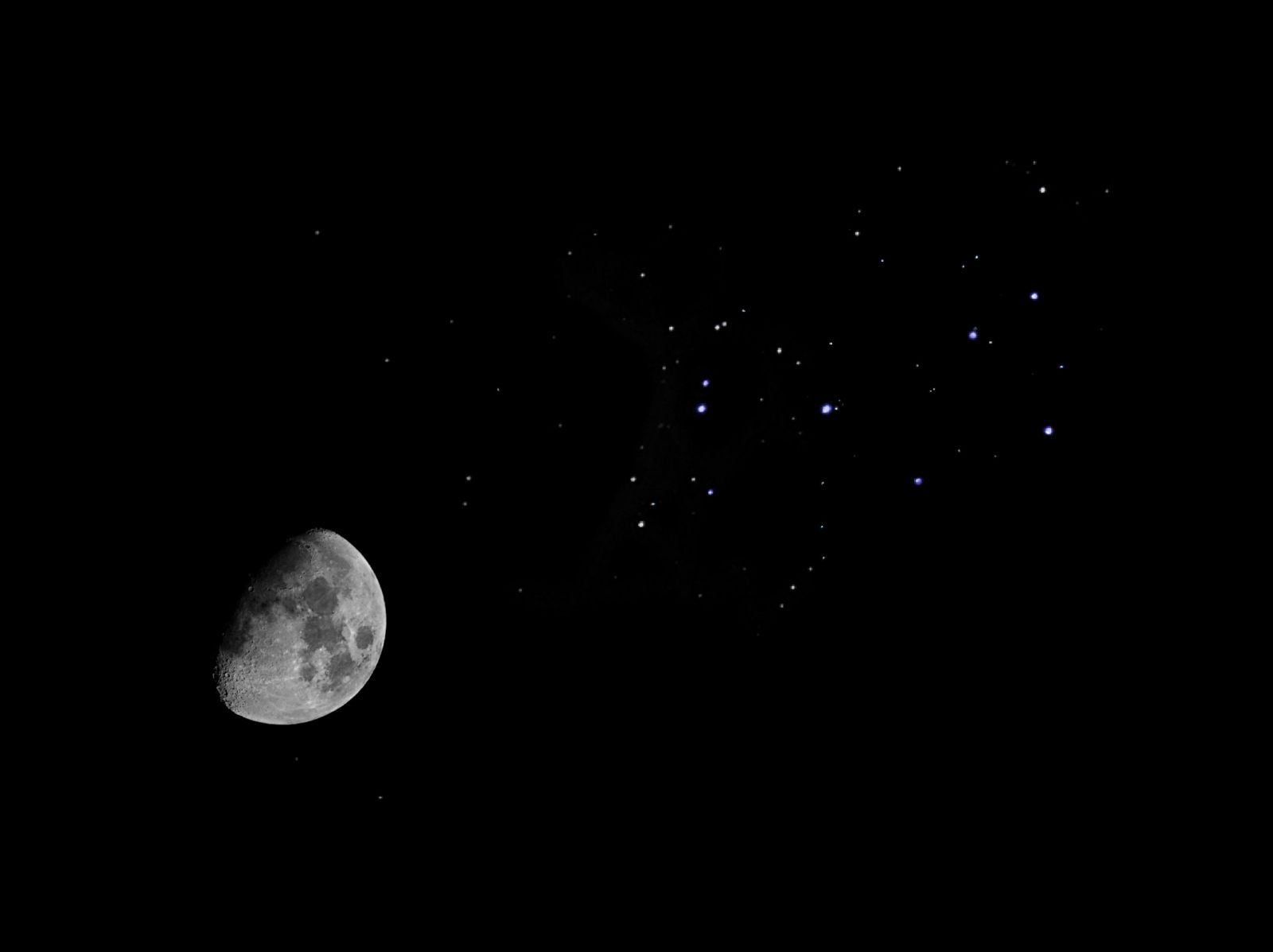 Moon and M45