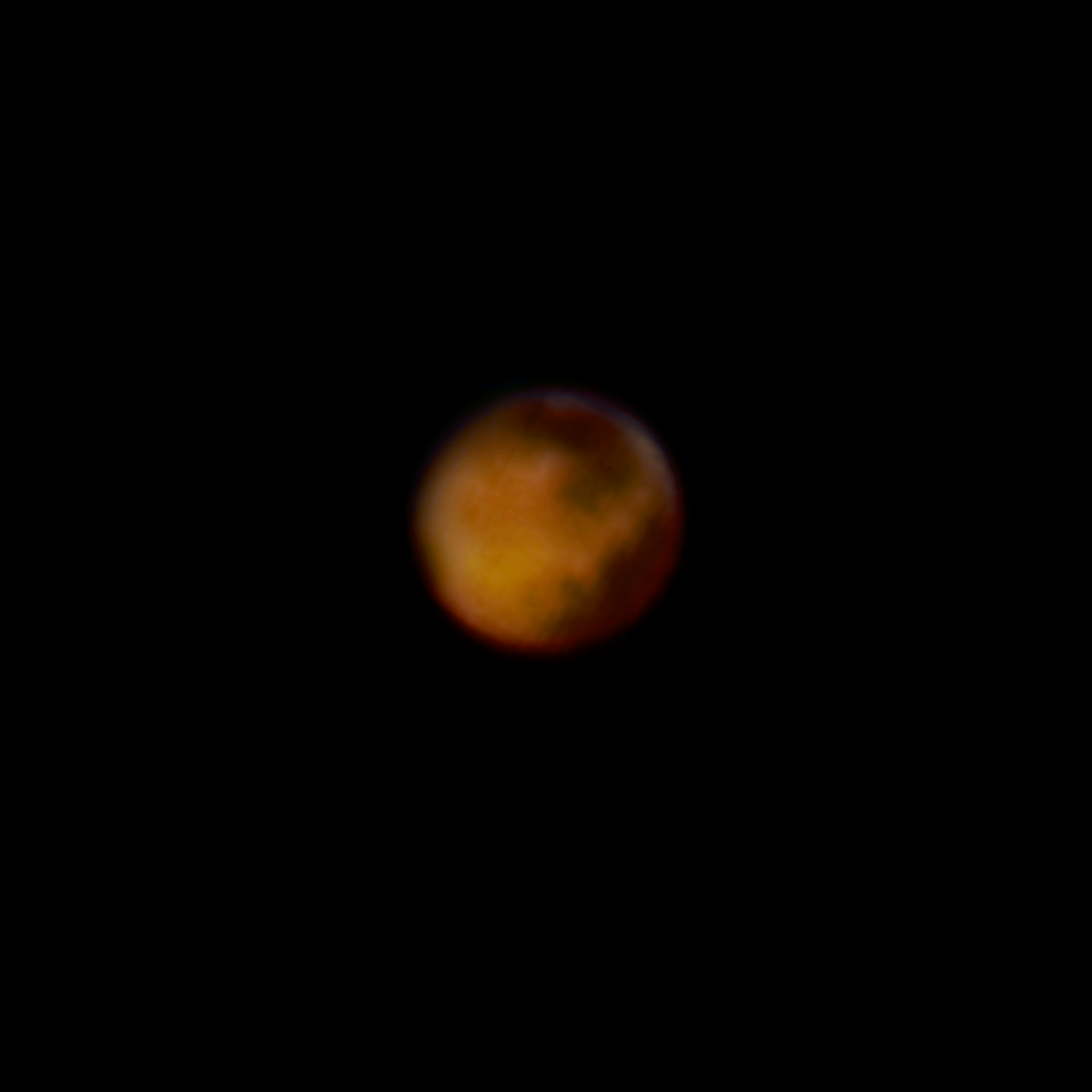 Mars At Opposition with clouds