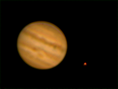 jupiter 0022: shot of Jupiter with transit and shadow. Poor seeing