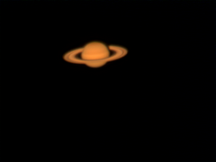 saturn3: first shot with TOUCAM-III-pro, using eyepiece projection with a 26mm Plossl (Celestron), lack of IR-filter results in brownish colours