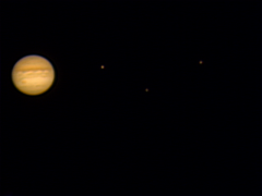 Jupiter with moons, July 7, 2007: composite of two shots: one with a 3x TeleXtender, one without.