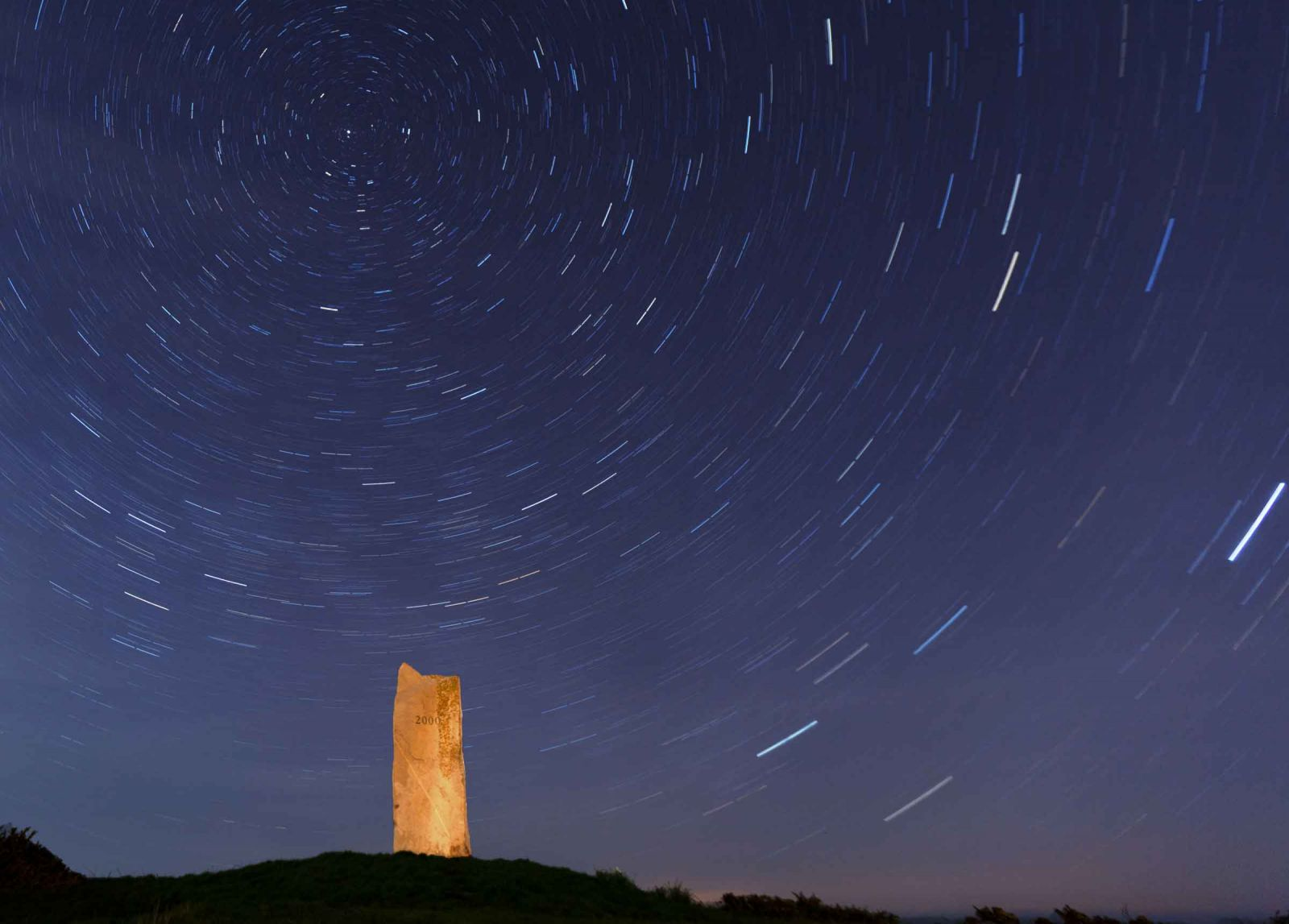 Millenium Monument Lancresse Common,  and Star Trail