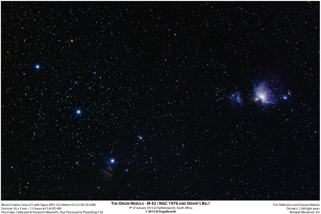Orion Nebula - M 42 / NGC 1976 and Orion's Belt