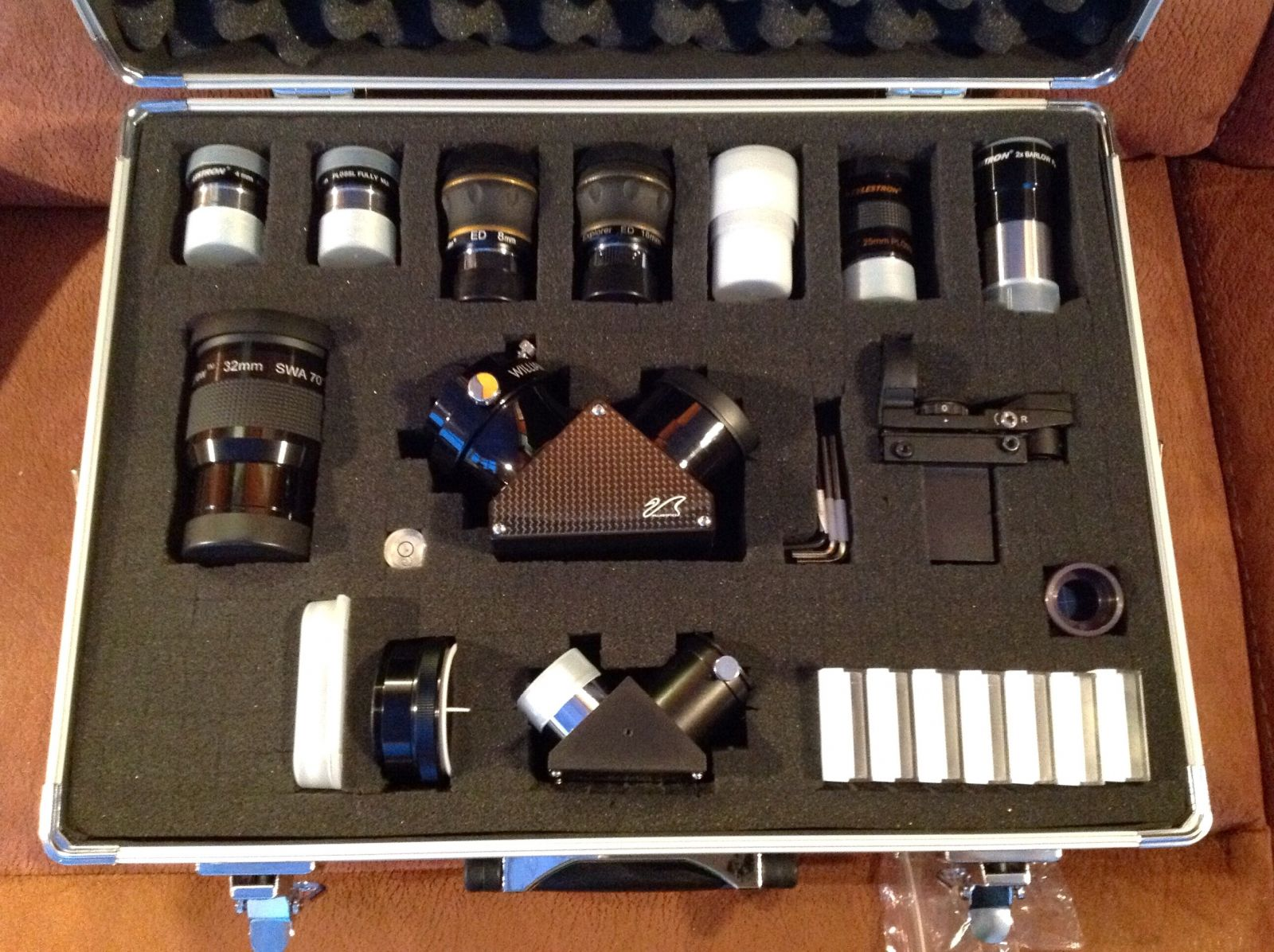Flight Case with EP's, Star Diagonals, Filters and Accessories