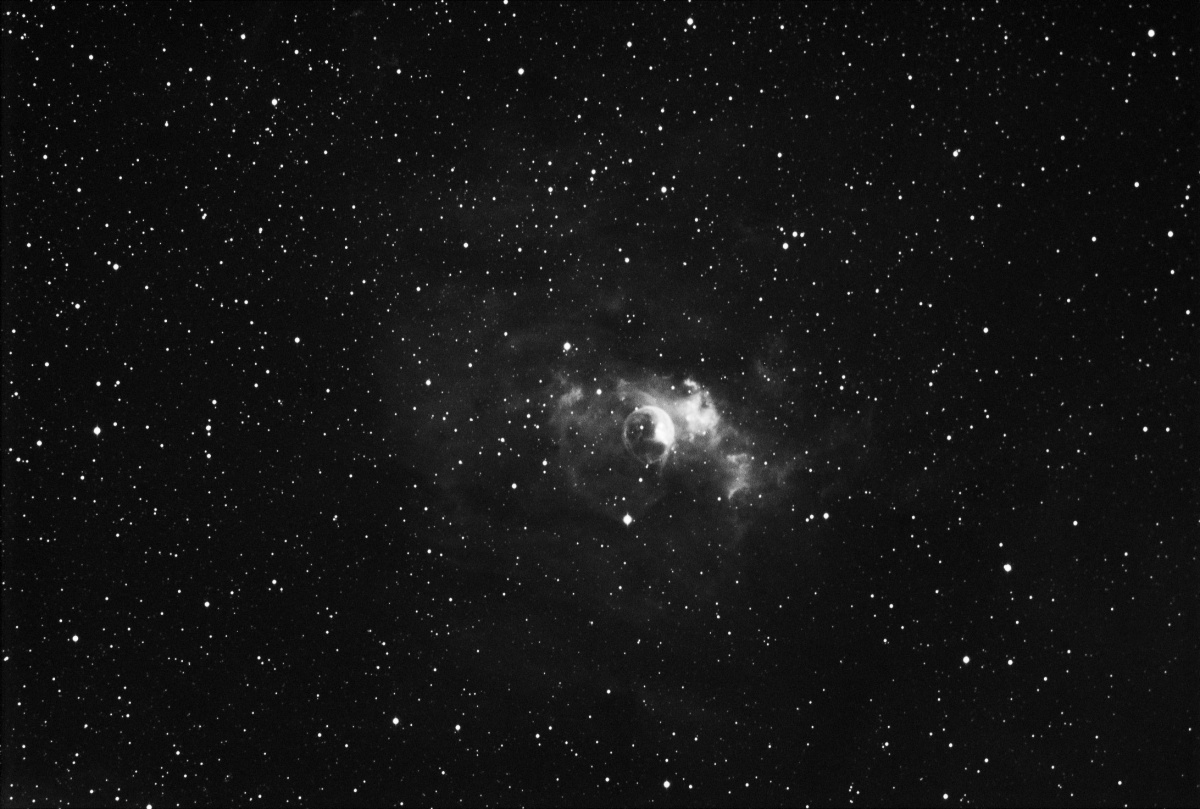 Bubble Nebula - This is an H Alpha image only since weather didn't permit the colour components to be gathered, one to come back to at a later date.
