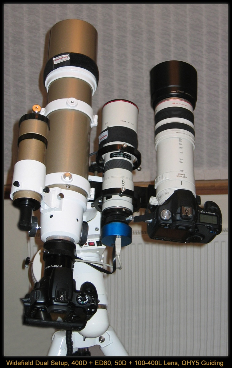Widefield Imaging Rig, comprising ED80 Pro + Canon 400D (Modded), Canon 50D + Canon EF100-400L IS Lens dual mounted on a HEQ5 Pro mount, guided with QHY5 / 400mm Lens.