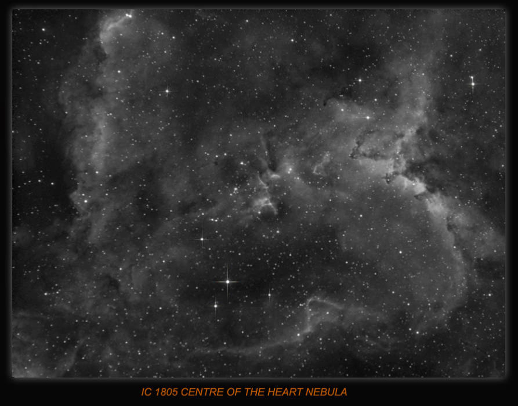 IC 1805 the Heart Nebula in Cassiopeia, Imaging scope Equinox 80 6.3 reducer used , Guide scope Equinox 120 H-Alpha Filter used, Guided QHY5 and PHD, Processed in Maxim and Photoshop.