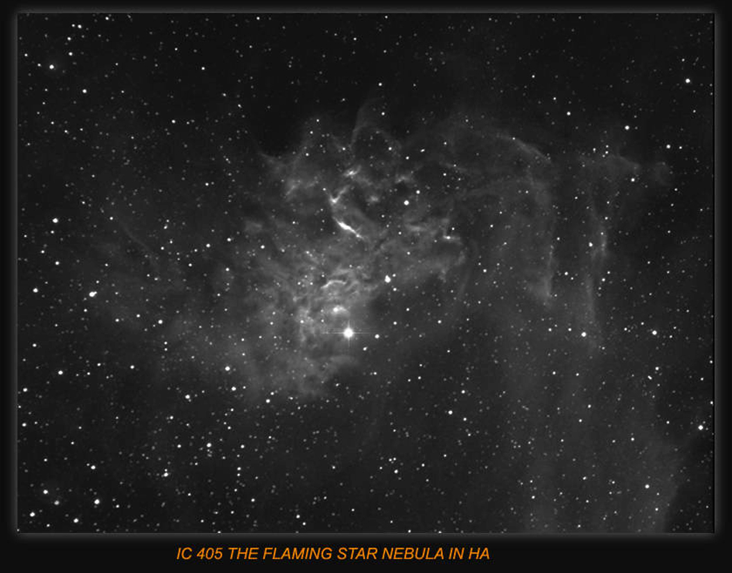IC405 FLAMING STAR NEBULA, In Auriga ,fairly bright reflection from the central star ,Imaging scope Equinox 80 H-Alpha Filter used 6nm . Guide scope Equinox120 , Processed in Maxim and photoshop.