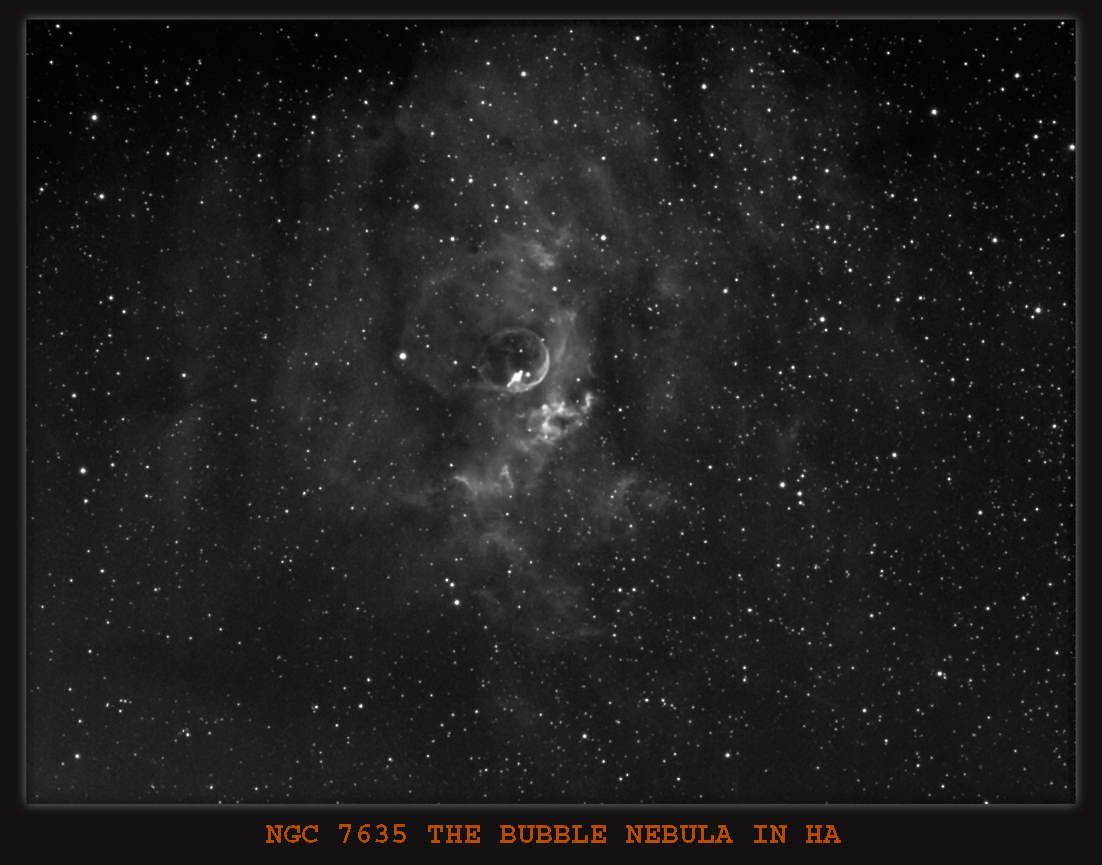 Bubble nebula NGC 7635 In Cassiopeia, Imaging scope Equinox 80 ,H-Alpha Filter 6nm used,Guide scope Equinox120 , Processed in Maxim and Photoshop.