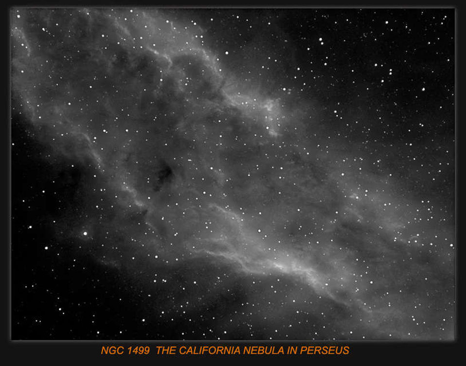 NGC1499 PART OF THE  CALIFORNIA NEBULA, IN PERSEUS.Imaging Scope Equinox 80 .H-Alpha 6nm used. Guide scope Equinox 120 ,Guide camera QHY5 and Guided PHD.
