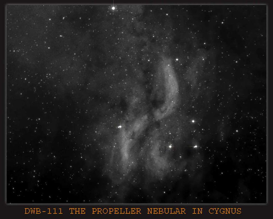 dwb- 111 The Propeller Nebula in Cygnus , rather a faint object to image , using the H-Alpha 6nm filter , with Imaging Scope Equinox 120 ,