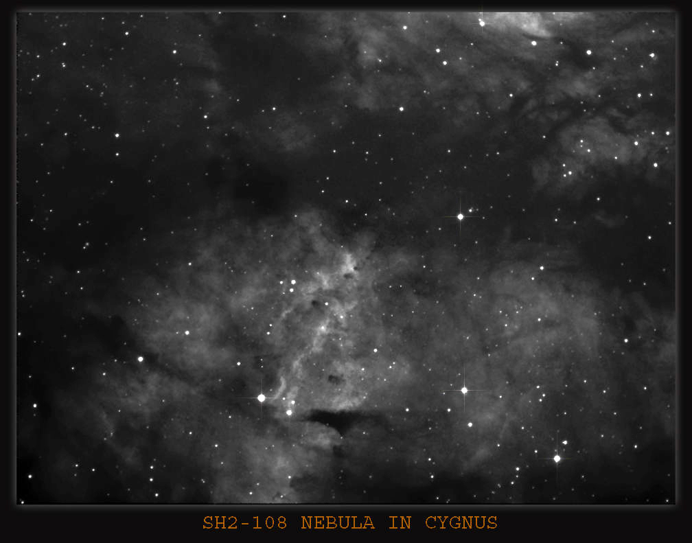 SH2-108 More faint Nebula in the Constellation of Cygnus, difficult toimage , H-Alpha filter used ,and would have needed at least 30 to 40 8 min subs for this one .