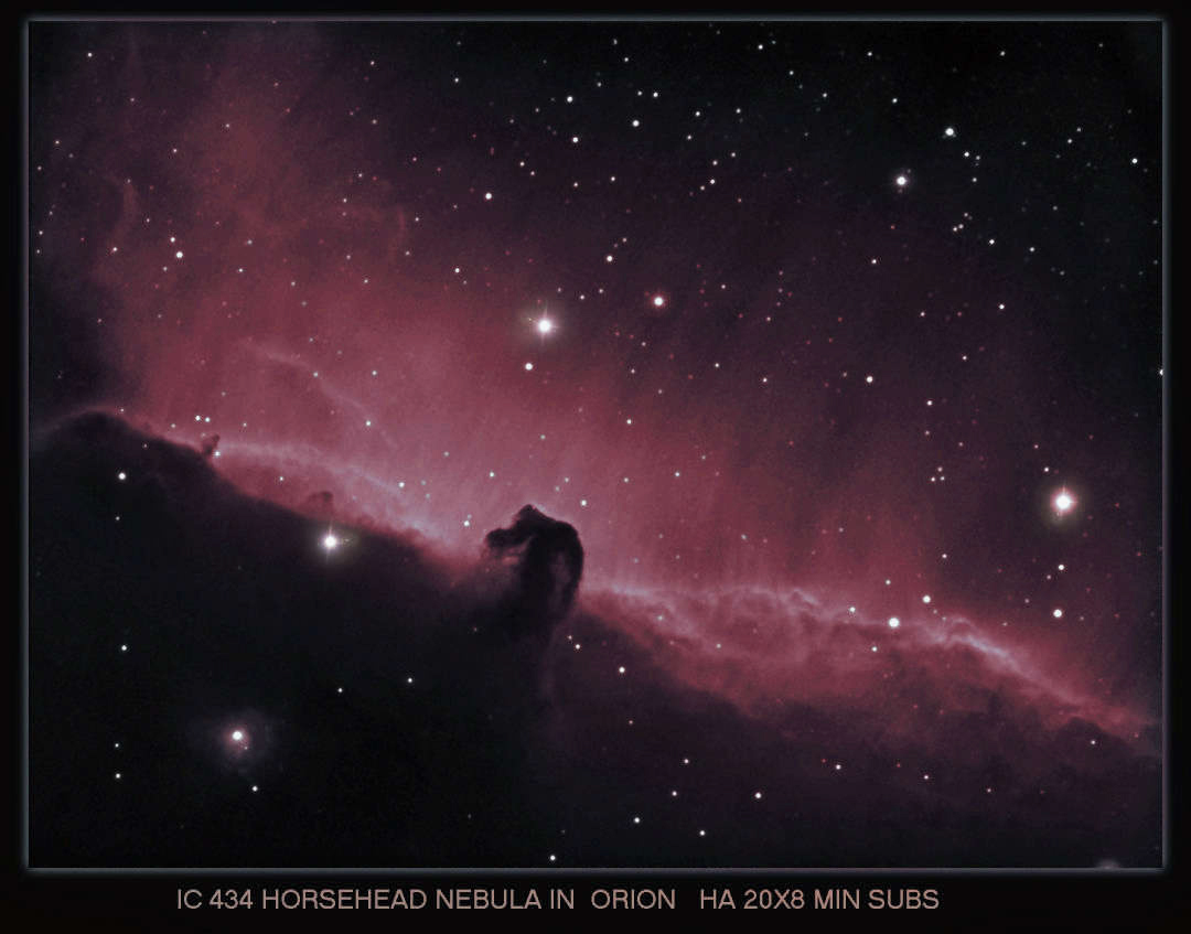 IC 434 The Horsehead Nebula , Taken with the Atik 16Hr , H-Alpha 6nm used, Imaging Scope Equinox 120 , Guide Scope Equinox 80 .