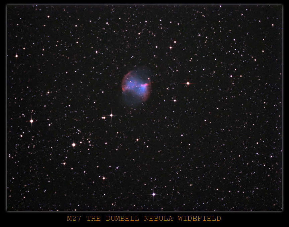 Wide field M27 The Dumbell Nebula ,taken with the OSC Atik 16HRC. Processed in Maxim and Photoshop.