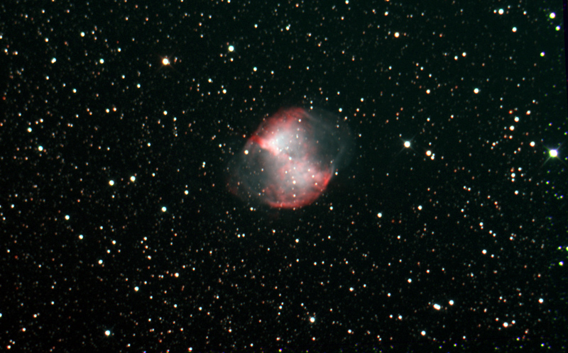 Taken over 2 nights, totaling 3 hours 10 min, this is an interim image of M27.  The target will be nearer 20 hours of data.