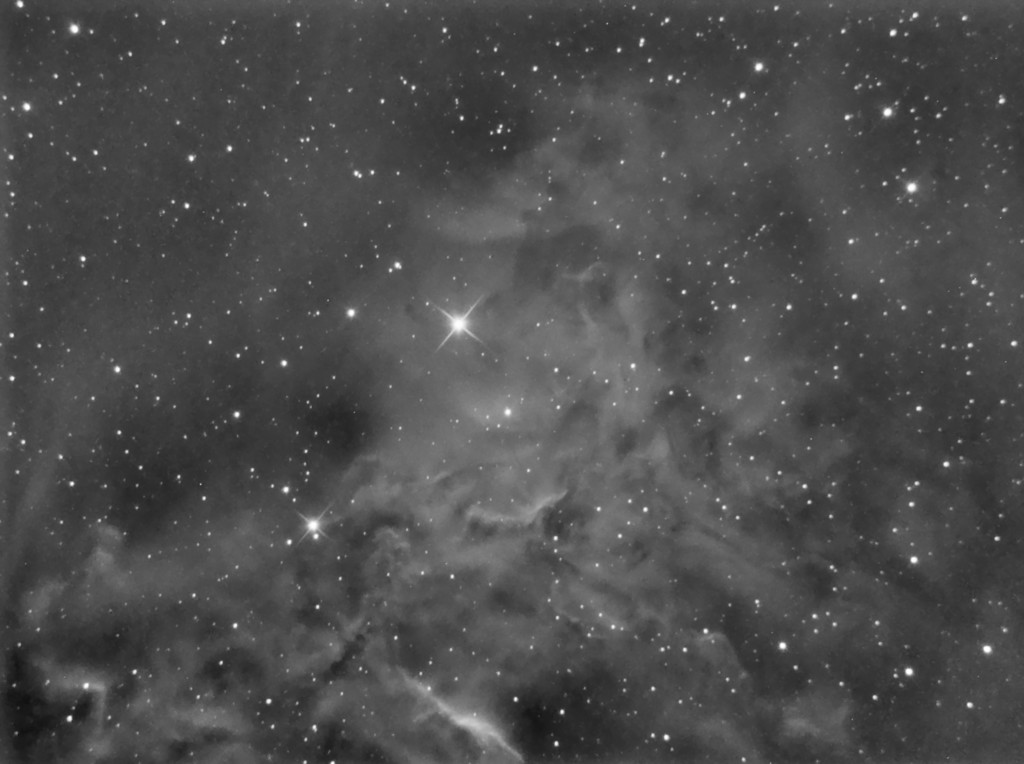 Part of IC405 (Flaming Star Nebula) in Ha. Taken on the first night I used PHD gudiing and the first time I've been able to get round stars in 10 minute subs.  6 x 10minute subs at -10c.  Now I'm confident to setup and take a whole night's worth.