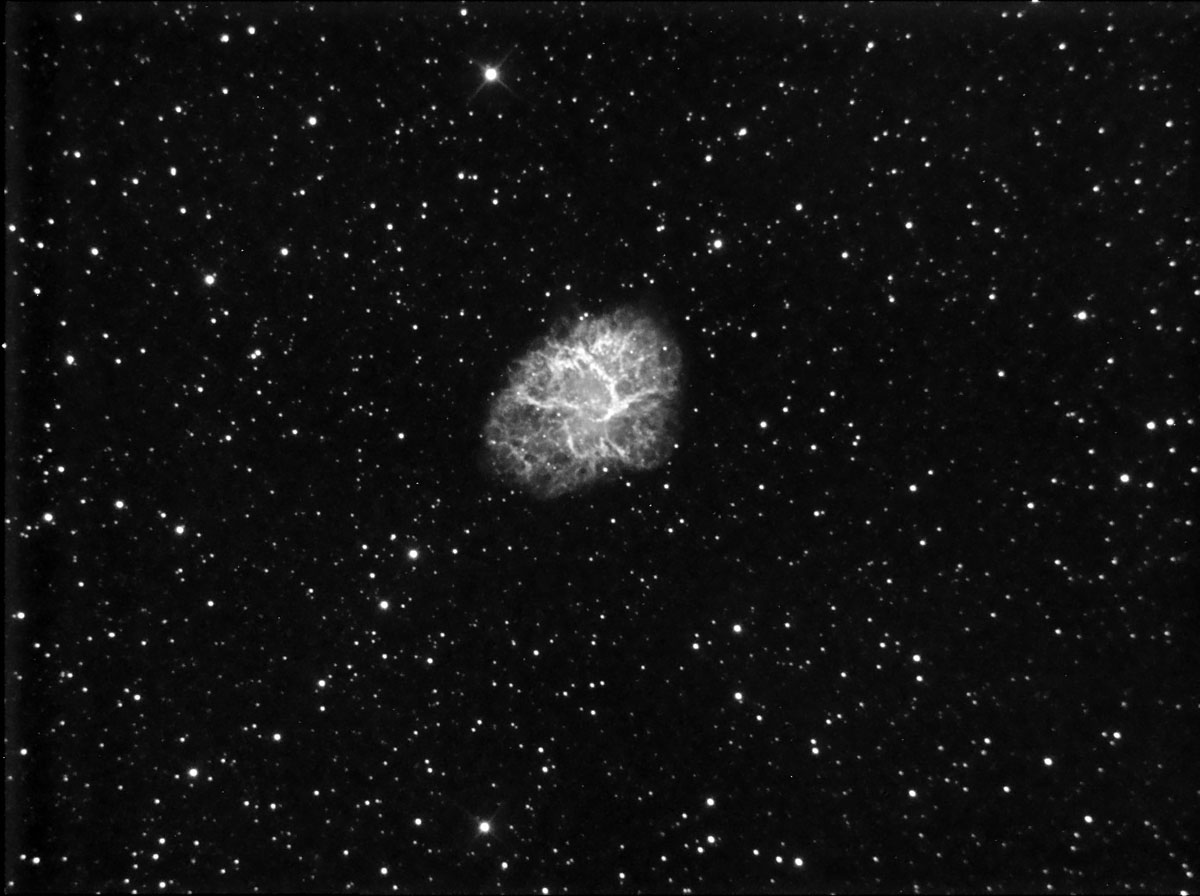 M1 in Ha.  First shots using EQMOD and PHD guiding.  I took 12 x 10 min subs before cloud stopped play.  Poor seeing and some cloud cover so the subs were rough.