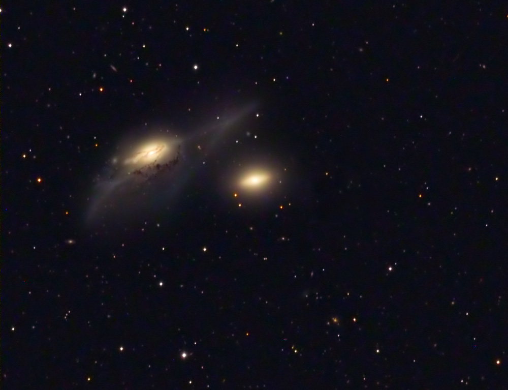 NGC 4435 and 4438 The Eyes LRGB March 2010 from Les Granges