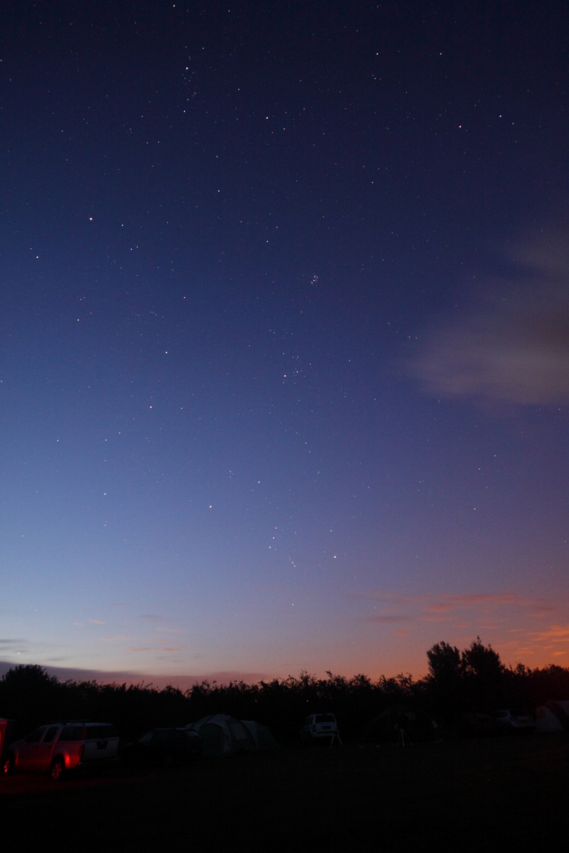 Orion, Hyades, Pleiades at the Salisbury Star Party  Canon 50D , Sigma 10-20mm lens