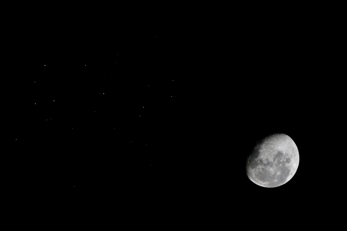 Moon and M45   Canon 400D and WO66SD Exposure 1/4s for star M45 and 1/800th for the Moon