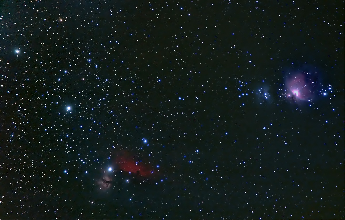 Orion's Belt and Sword. My first attempt at widefield. 55-200 lens at 200mm on my modded D70. 16 x 60secs unguided, plus calibration. Quite pleased with this really.