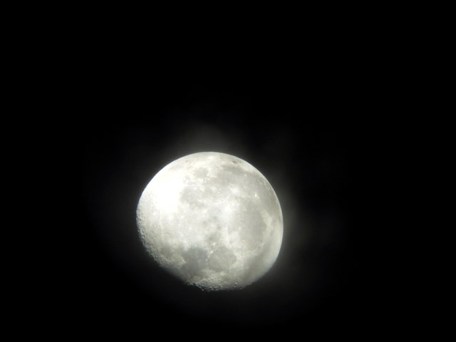 The waning Gibbous moon after the total eclipse.